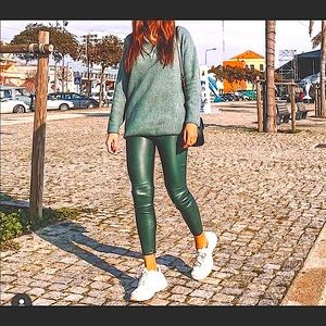 💥ZARA BLOGGERS FAV green high rise pants/leggings